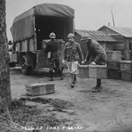 Pigeons being transported World War 1