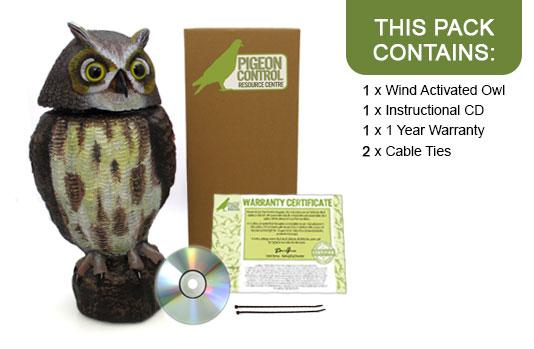 Defenders Wind Powered Plastic Action Owl Decoy