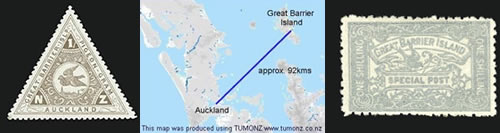 Pigeon Post route, Auckland to Great Barrier Island